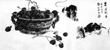 他的动物画,吸取虚谷,黄胄,刘继卣笔意,又不断写生,大大提高了造型