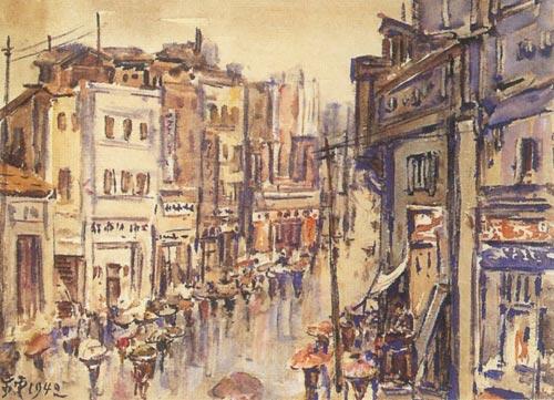 《重庆雨中都邮街》 水彩1942年