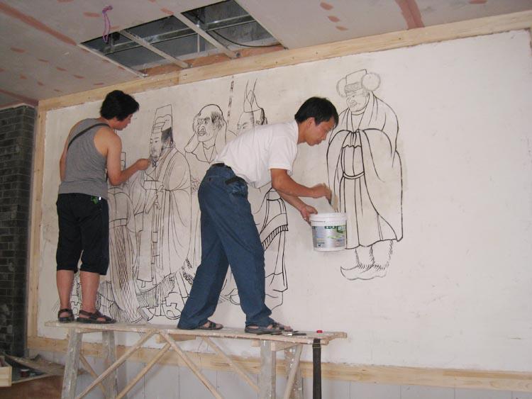 09年承接大雁塔北广场慈恩客栈大幅墙皮壁画客使图