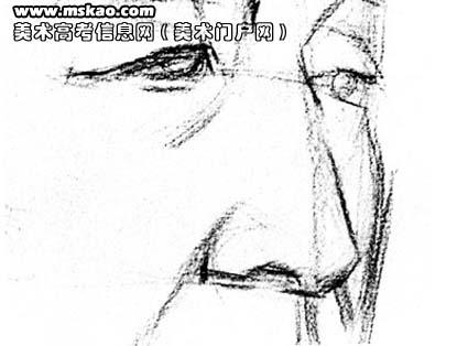 老人侧面顶光素描人像