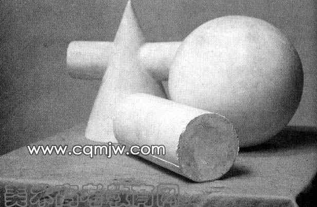 圆柱体素描教案-圆锥,圆柱,球体组合写生图片