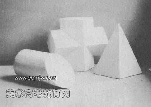 几何形体组合写生步骤范图(十字架/圆柱切面/锥体)