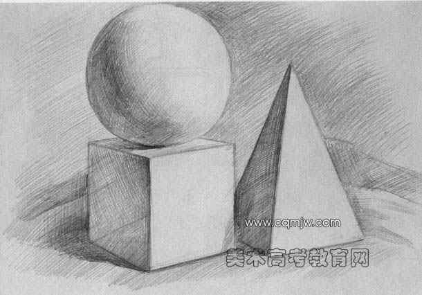 几何形体组合写生步骤范图(球/正方体/锥体)