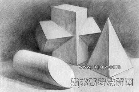 圆柱体素描教案-范图 十字架 圆柱切面 锥体图片
