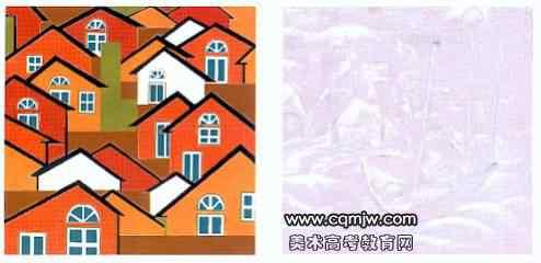题目:以房子为主加小动物或小飞禽组成一幅装饰风景