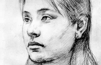 女人侧面顶光素描人像